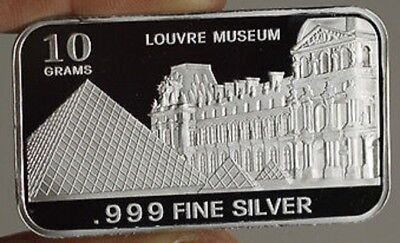 """10 grams .999 Fine Silver Bar, """"LOUVRE MUSEUM""""  RARE  Extremely Hard to find"""