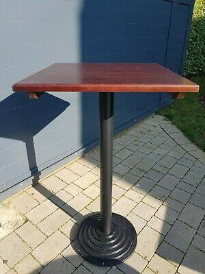bar poser table, square wooden top with cast iron base (2x)
