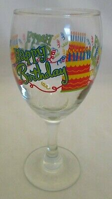 Happy Birthday Wine Glass W Cake Candles And Confetti
