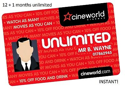 Cineworld Unlimited Cinema Adult Pass 12 months (+1 free) code RRP £232 INSTANT