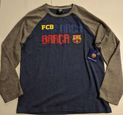 cc96562a8 FCB Barcelona Barca Logo Mens Blue Gray Sweater Shirt Medium Futbol Soccer  NWT