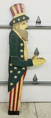 "1940's (?) Uncle Sam wooden Yard Art Whirl-i-gig 69"" Tall 2 Sided some issues"