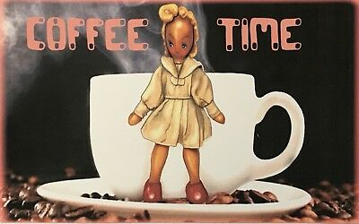 Original COFFEE TIME Vintage Doll Coffee Cup 8x5 Jocelyn Bullock Limited Print