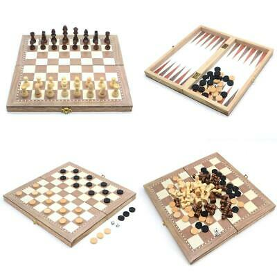 dsidols 3 in 1 Classic Folding Wooden Chess Set Board Game and Draughts 30cm...
