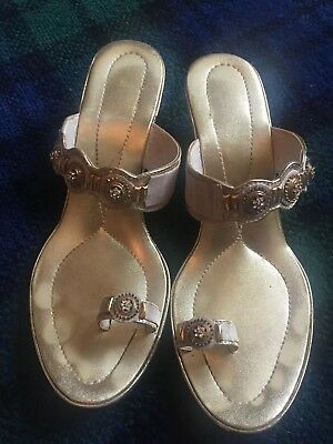 Heels Wedding Shalimar Cream Khussa Indian Sandals Gold Shoes 3RAj5L4