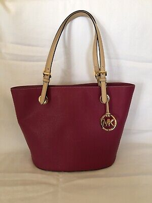 d1ffaf94f9484 Michael Kors JET SET ITEM LEATHER ULTRA PINK MD TOTE Tote.In Excellent  Condition