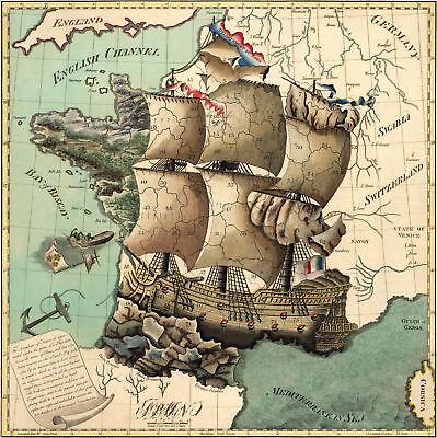 A4 Map Of France.A4 Reprint Of Map France French Territories Represented As A Ship 1700s