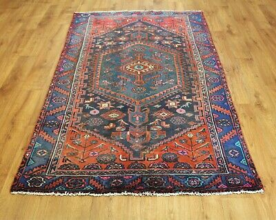 Old Wool Hand Made Persian  Oriental Floral Runner Area Rug Carpet 210X 115 Cm