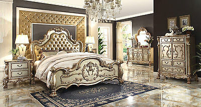 ACME Dresden carving master bedroom set cherry finish leather antique white