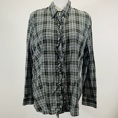 d3469bc0 Cato's Women's Plaid ruffle green yellow button up shirt Long Sleeve Size XL