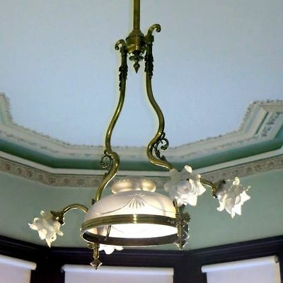 Quality Reproduction Period Brass & Glass Pendant Ceiling Light