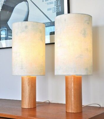 Vintage Maple Danish Retro 'Rørformet' table Lamps with new bespoke shades PAIR