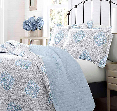 Laura Ashley King Size Quilt Set 3pcs Winnie Medallion Blue Gray