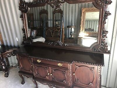 Antique Buffet With Mirror >> Antique Buffet With Mirror 1 560 00 Picclick