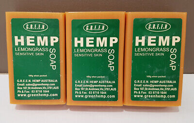 3 x Hemp Seed Oil Soap Lemongrass For Sensitive Skin All Natural Free Shipping