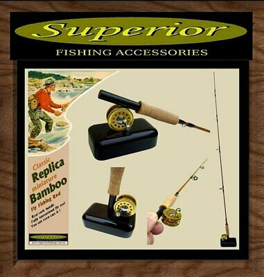 Superior Miniature Replica Bamboo Fly Fishing Rod - load reel with line & CAST !