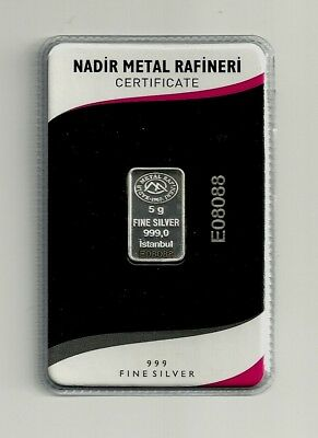 Five (5) Gram Pure (999) Silver Bar, Sealed, Certificated, with Unique Serial #
