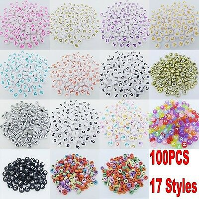100pcs 4x7mm Acrylic Mixed Alphabet Letter Coin Round Flat Spacer Beads DIY A+