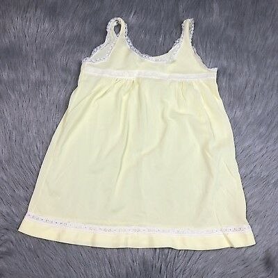 Vintage Girls Yellow White Nylon Lace Her Majesty Slip