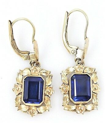 VINTAGE Old World Charm 9ct Yellow Gold & Sapphire Earrings - Continental Clip
