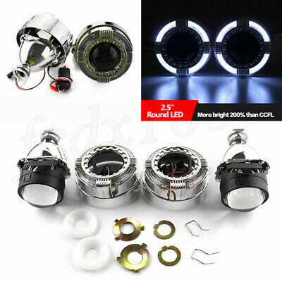 Car 2 5 Bi Xenon H1 Hid Headlight Projector Lens Led Angel Eyes