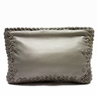 475e49eeed4f Auth BOTTEGA VENETA Intrecciato Python Clutch Bag Handbag Gray Leather -  a1274