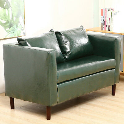 Upholstered Loft Style Leather 2 Seater Sofa Loveseat Settee Couch Sofas Chair