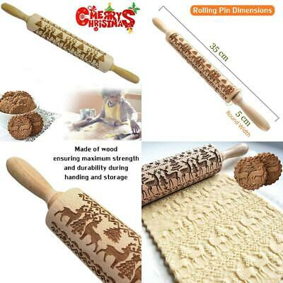KAISHANE Christmas Embossed Rolling Pins 35 cm Wooden Embossing Engraved...
