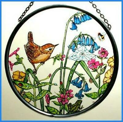 Decorative Hand Painted Stained Glass Window Sun Catcher/Roundel in a Wren...