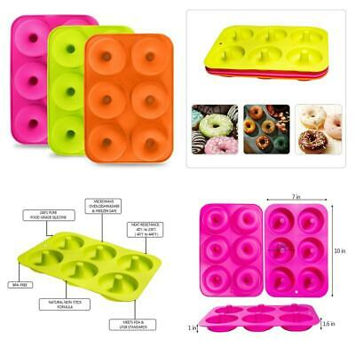 3 Pack Donut Mould, Silicon Cake Mold 6 Cavity Non-Stick Safe Baking Pan...