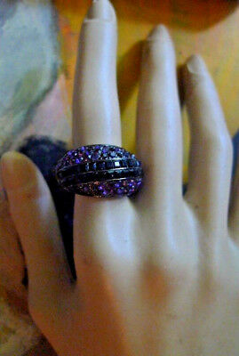 Vintage Estate Ring Amethyst Black Rhinestones Art Deco revival -2 post FREE