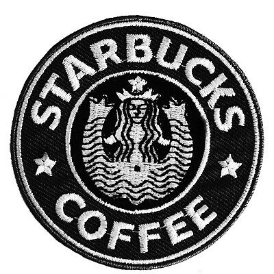 4 x Classic Starbucks Coffee Patch Embroidery Badge Sew-On, Iron-On Jacket
