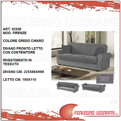 DIVANO CON CONTENITORE PRONTOLETTO /'FIRENZE/' 3STR LIGHT GRAY