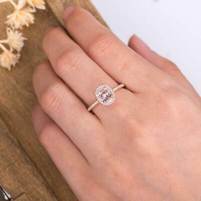 56cf8ea9bbe39 1 CT 14K Rose Gold Over Oval Cut Morganite Diamond Halo Engagement ...