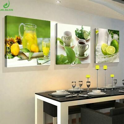 Green Fruits Lemon Modular Wall Pictures Paintings Kitchen Canvas Flowers Poster