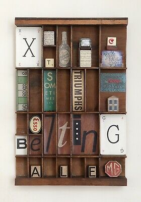 Quirky Typography Themed Artwork in an old Antique Printers Type Case or Tray