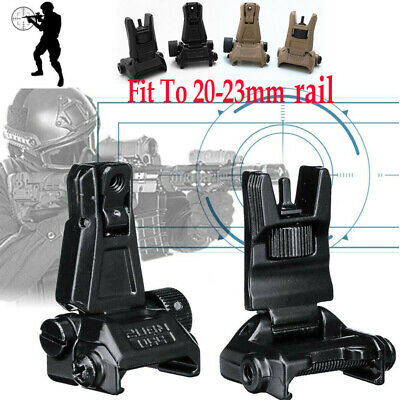 Low Profile Flip-up Metal Tactical Sight Folding Iron Sights Front and Rear Set