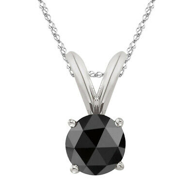 1/2 Cts AA 5.40 mm Round Rose Cut Black Diamond Solitaire Pendant in 14K W Gold