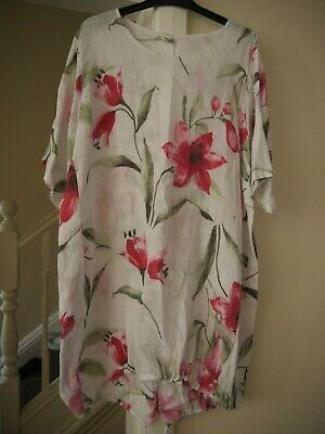 b32113f45d Made In Italy Floral Linen Dress One Size Front Pockets New Without Tags
