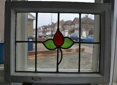 1 British leaded light stained glass window panel. R884b.