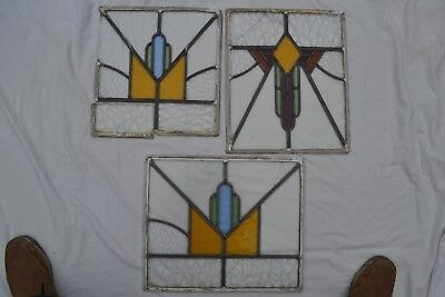 3 art deco British leaded light stained glass window panels. B861a.