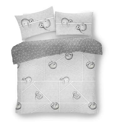 SLOTH QUILT DUVET COVER Grey Bedding Set with Pillow Case Single Double & King