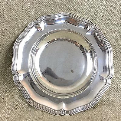 Antique Silver Plated Bowl Ercuis Silverplate Old French Vintage Monogrammed