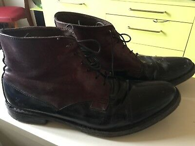 0542804b9518a7 Chaussures Bottines cuir italiennes homme bicolores à lacets 6 oeillets MOMA