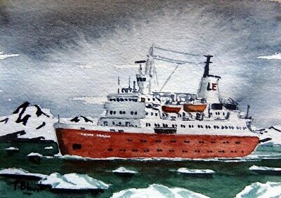 "ORIGINAL AQUARELL - Expeditionsschiff ""Lindblad Explorer"" in der Antarktis."