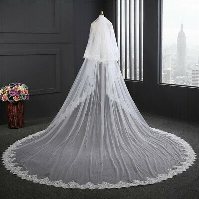 Bridal white 2 tier lace/sequin edge cathedral length veil