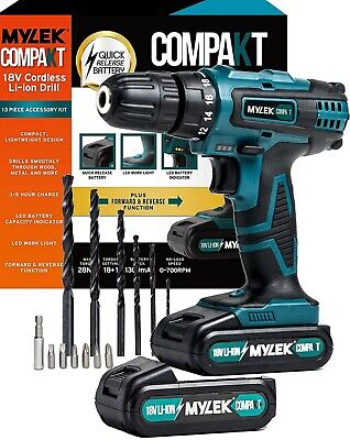 Cordless Drill Set 18v Driver Screwdriver 2 Batteries Lithium Ion By Mylek