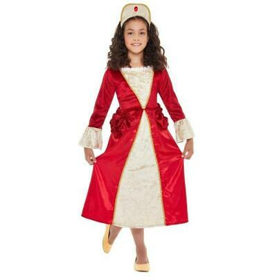 Childs Tudor Princess Costume Medieval Historical Kids Book Day Week Fancy Dress