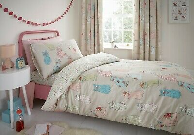 Bedlam Kids Children's Cheeky Cats Reversible Floral Bedroom Collection Multi
