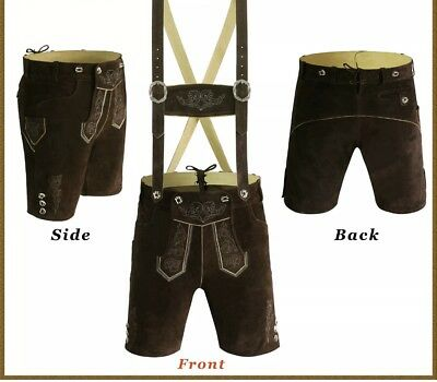 Men,s  LEDERHOSEN Golden Cowhide Leather with Matching Suspenders 48